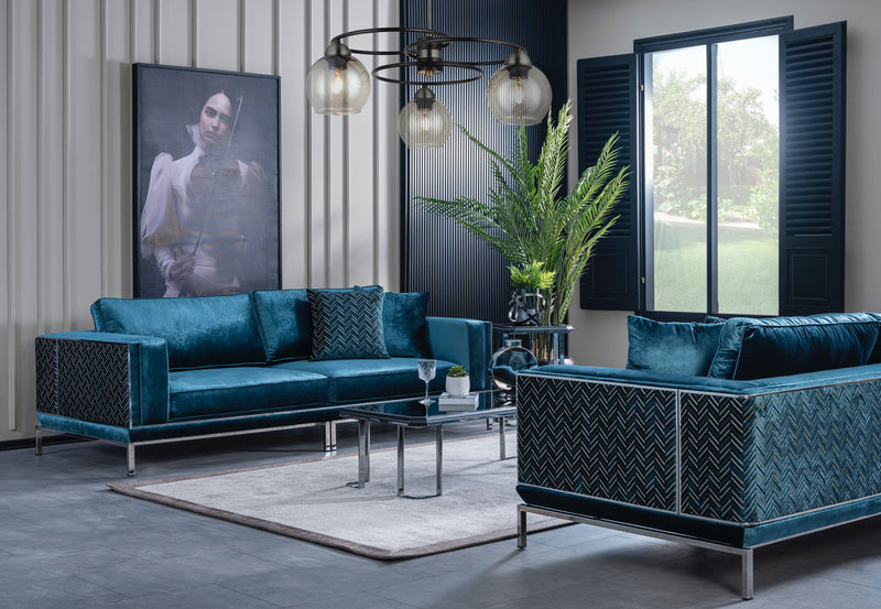 Primula Teal Velvet Sofa & Loveseat