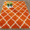 Cozy Moroccan Trellis Orange Shaggy Area Rug - 8X10 - Luna Furniture