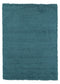 Cozy Solid Turquoise Shaggy Area Rug - 8X10 - Luna Furniture