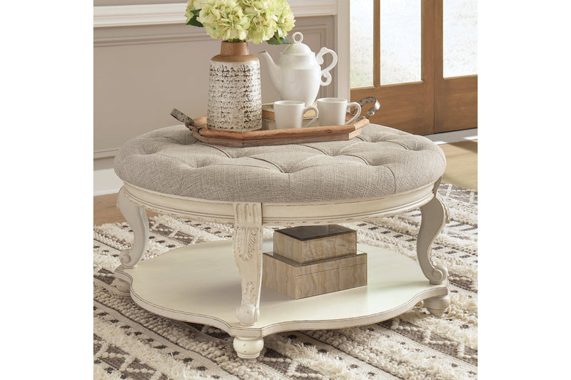 T743 Realyn White/Brown Ottoman Coffee Table