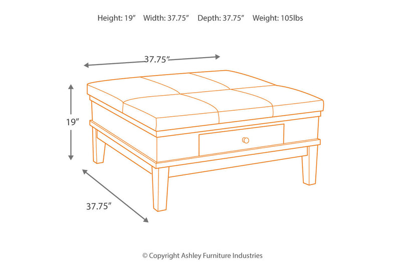 T845 Gately Medium Brown Coffee Table with Lift Top