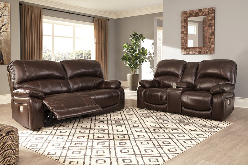 U52402 Hallstrung Chocolate Power Reclining Sofa & Loveseat