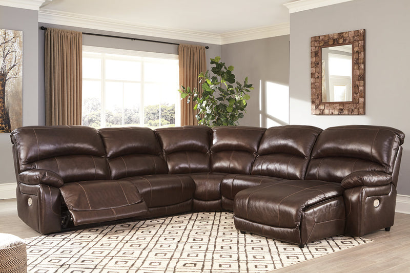 U52402 Hallstrung Chocolate 5-Piece Power Reclining Sectional with Chaise | U52402S3 | by Ashley | Nova Furniture