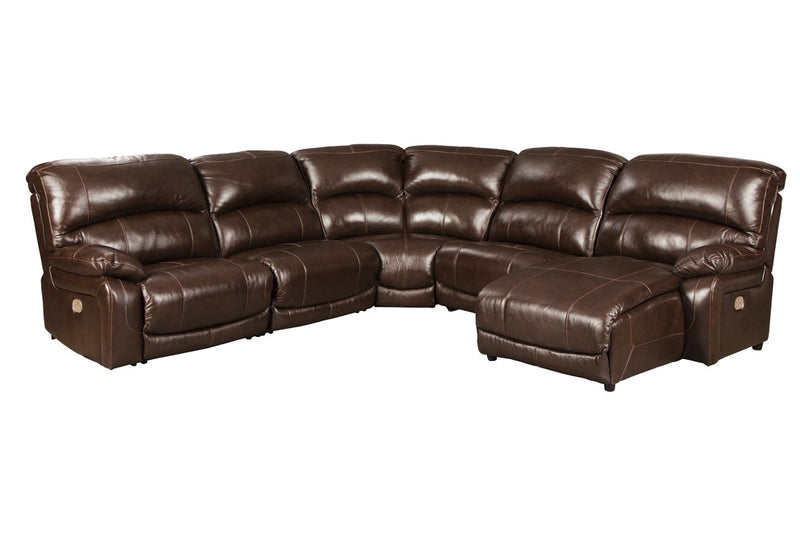 U52402 Hallstrung Chocolate 5-Piece Power Reclining Sectional with Chaise