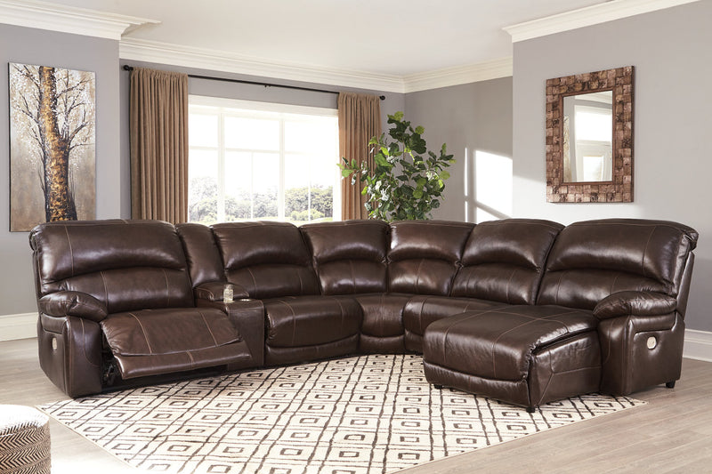 U52402 Hallstrung Chocolate 6-Piece Power Reclining Sectional with Chaise | U52402S4 | by Ashley | Nova Furniture
