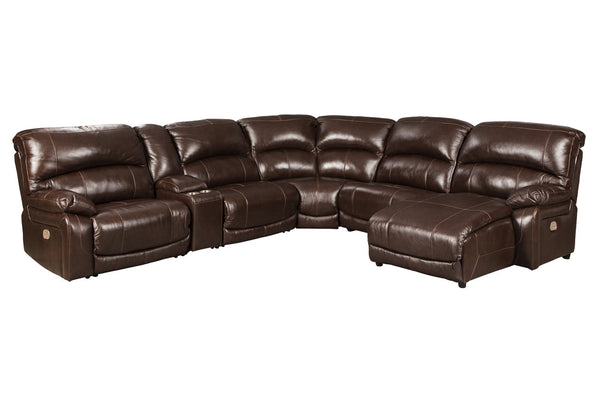 U52402 Hallstrung Chocolate 6-Piece Power Reclining Sectional with Chaise