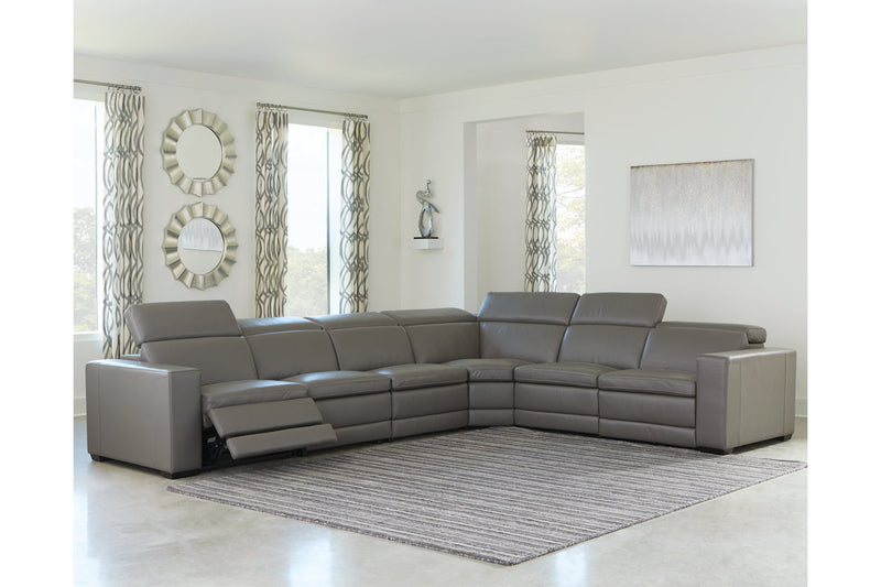 U59603 Texline Gray 6-Piece Power Reclining Sectional | U59603S7 | by Ashley | Nova Furniture