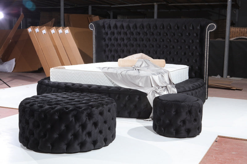 Glamour Velvet Black Ottoman Stool - Luna Furniture