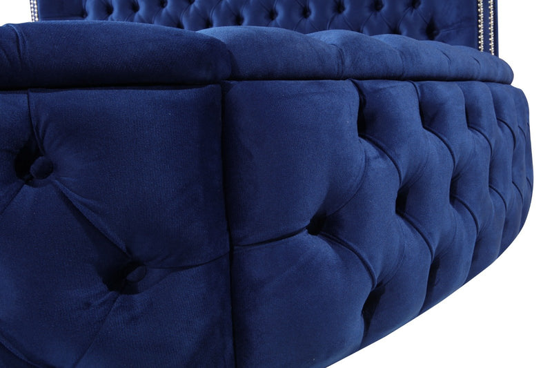 Glamour Velvet Navy King Storage Platform Bed - Luna Furniture