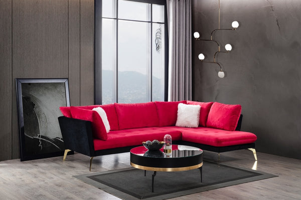 Nessa Velvet Red/Black RAF Sectional - Luna Furniture