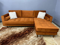 Nora Sapphire Rust Velvet Reversible Sofa Chaise with 2-Type Leg Sets