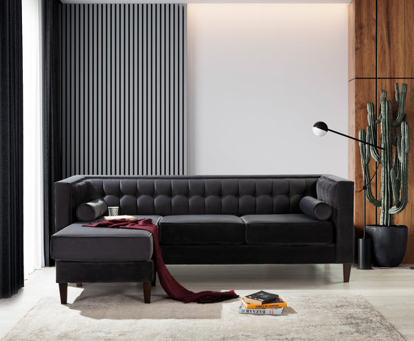 Kelly Charcoal Reversible Sofa Chaise