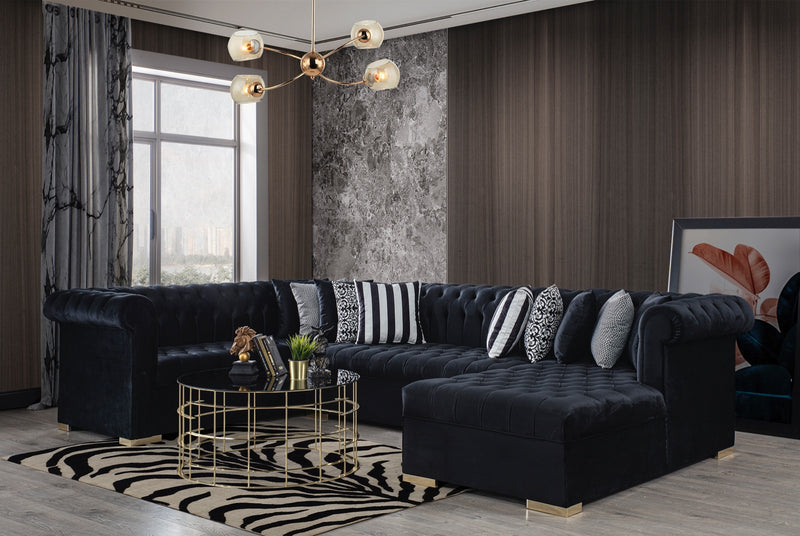 Luxen Velvet Black RAF Chaise Sectional