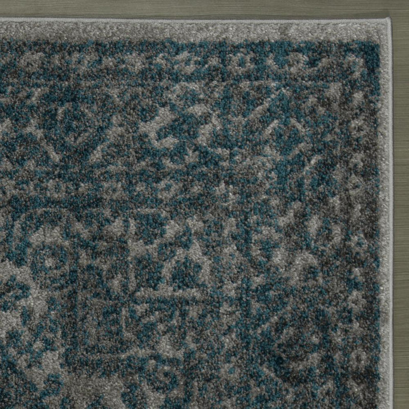 Urban Oriental Medallion Blue Grey Area Rug - 5X7 - Luna Furniture