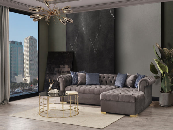 Audrey Velvet Gray RAF Chaise Sectional
