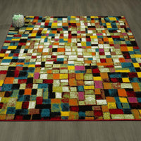 CIT3316 - City Checkered Boxes Multi-Color Area Rug - 5X7 - Luna Furniture