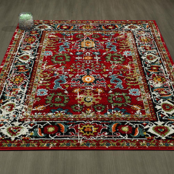 CIT3360 - City Antique Faded Persian Mahal Red Area Rug - 5X7 - Luna Furniture