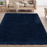 FFR1006-5X7 - Flokati Sheepskin Solid Navy Blue Area Rug