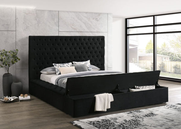 Paris Black Velvet Queen Storage Platform Bed - Luna Furniture
