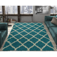 Cozy Moroccan Trellis Turquoise Shaggy Area Rug - 8X10 - Luna Furniture