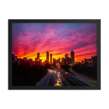 "Load image into Gallery viewer, ""Alive and Well.""-Framed poster of Atlanta's Sunset Skyline"