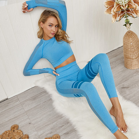 Seamless Yoga Crop Top Leggings Sport Set