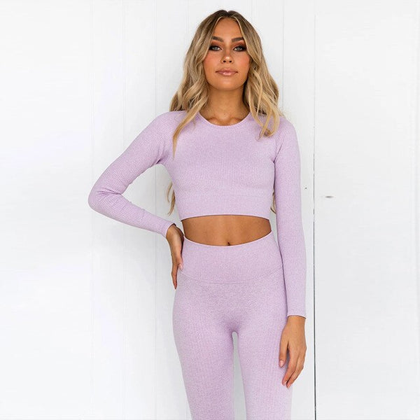 yoga 2 pcs set women ribbed long sleeve crop top and seamless leggings