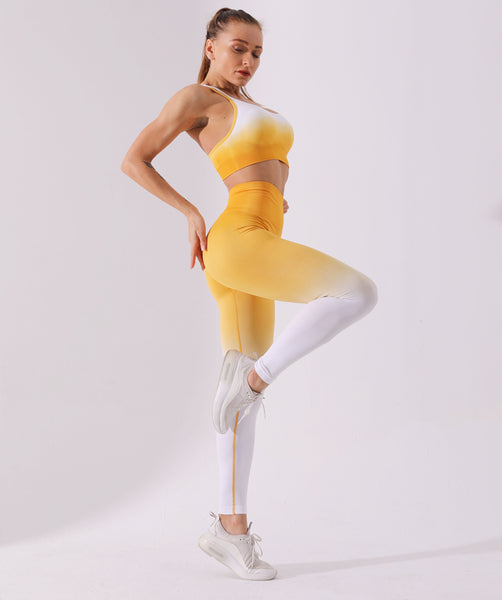 2 Piece Yoga Set Ombre Seamless High Waist Leggings & Bra