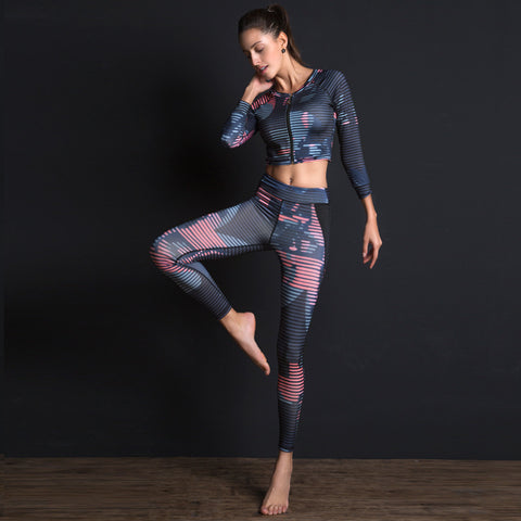 Women Fitness Yoga 2 Pc T-shirt Sport Leggings Set