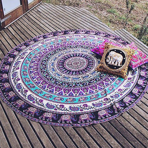 Round Beach Yoga Towel Indian Mandala Elephant