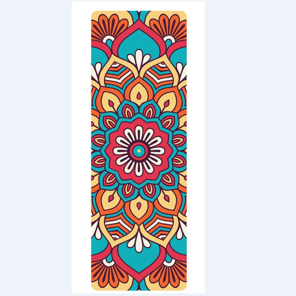 New 5mm Lotus Pattern Suede TPE Yoga Mat Pad Non-slip