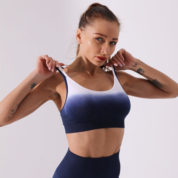 Ombre 2 Piece Seamless Yoga High Waist Leggings & Bra Athletic Sportswear