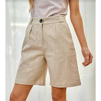 Rock Fashion Linen Shorts - Beige