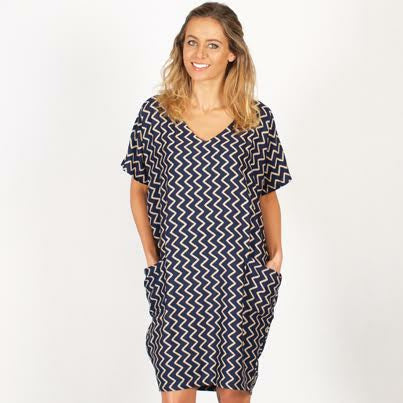 Pocket Dress Black And White Zig Zag