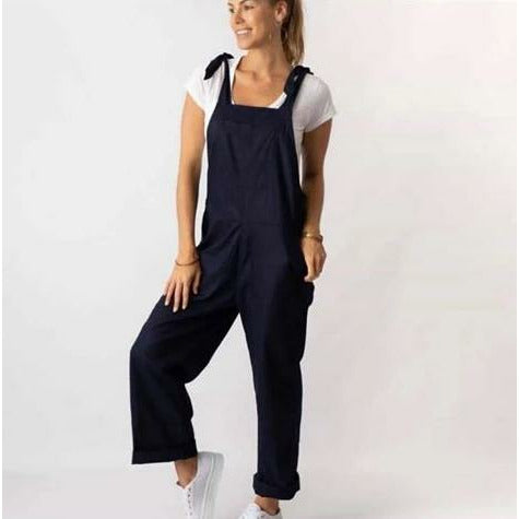 Miss Lilly Linen Overalls Navy