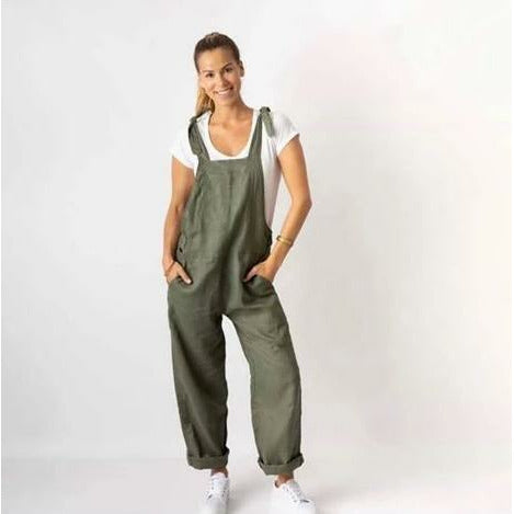 Miss Lilly Linen Overalls Sage