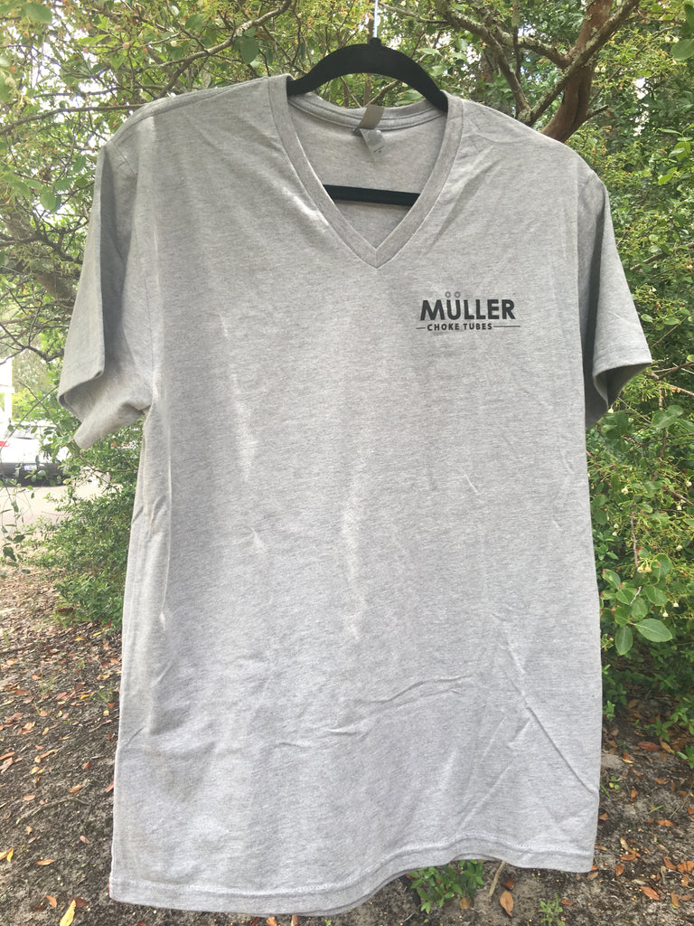 Mens Short Sleeve Vneck Tshirt. Front: Muller, Back: Circle U (GREY)