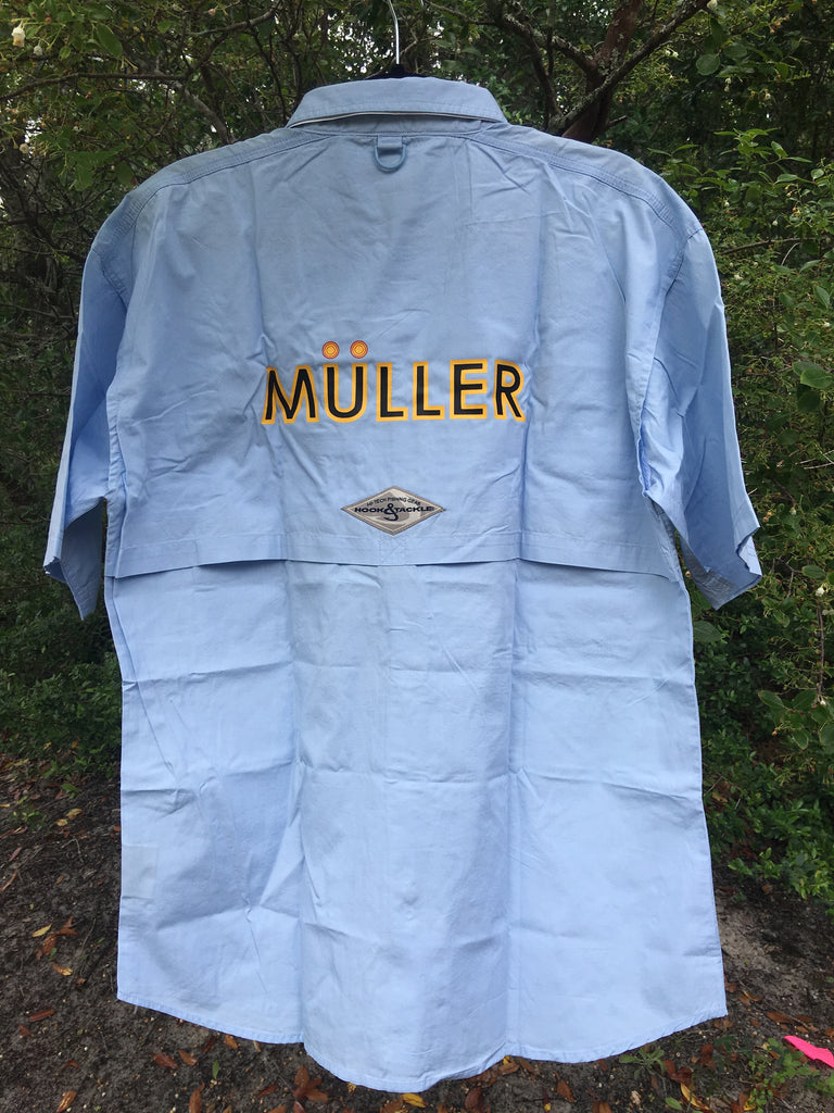 Mens Short Sleeve Blue Fishing Shirt. Front: U, Back: Muller