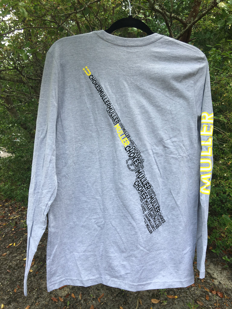 "Mens Long Sleeve ""Collage Gun"" Tshirt. Front: U, Back: Collage Gun, Sleeve: Muller (GREY)"