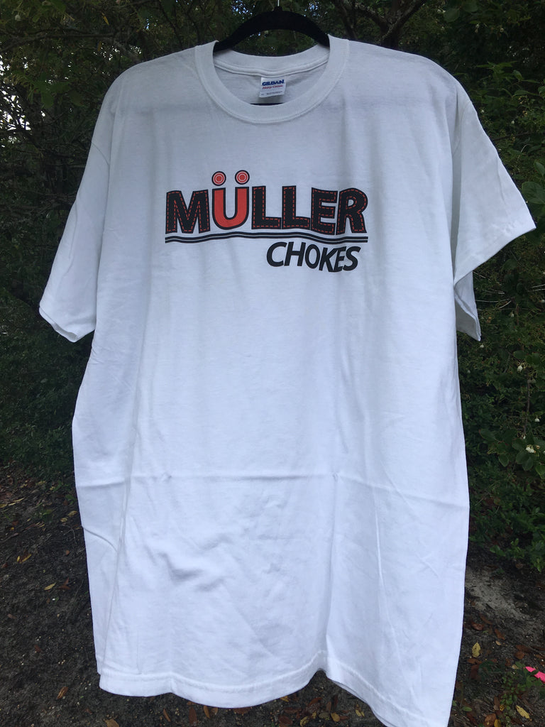 "Mens Short Sleeve White ""Stitch"" TShirt. Front: Muller Chokes"