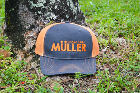 *CAP* Orange Muller Chokes Shotgunning Cap. Front: Orange Logo, Back: Orange Mesh
