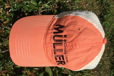 *ORANGE* Muller Chokes Shotgunning Cap. Front: Brown Logo, Back: Cream Mesh