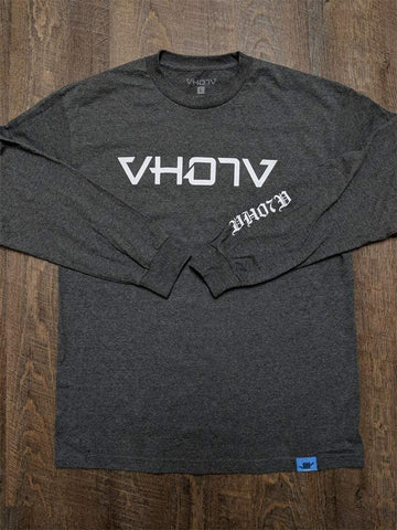 Adult Logo Long Sleeve Tee (Charcoal Heather/White) - VH07V