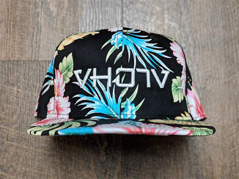 Snapback: Black Floral/White 3D Puff logo