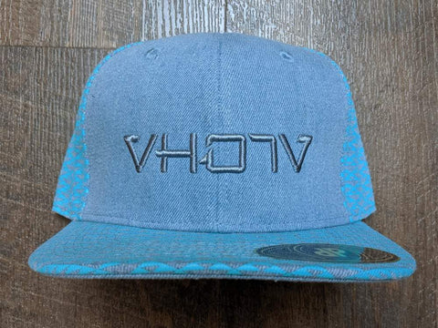 Snapback: Blue Denim Triangles 3D Puff logo