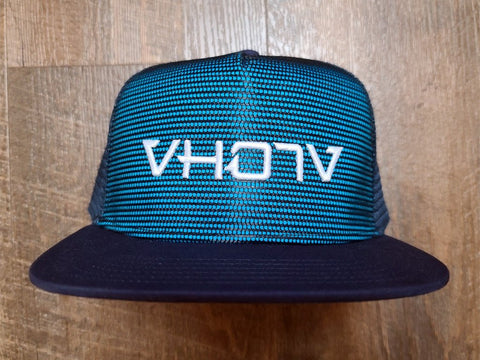Snapback: Blue/Navy Meshover with 3D Puff White Logo - VH07V