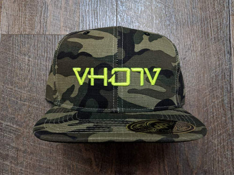Snapback: Camo with Neon Yellow 3D Puff logo