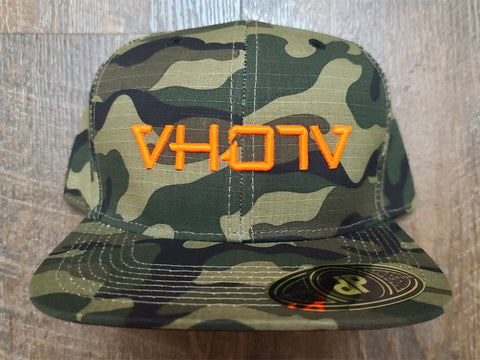 Snapback: Camo with Neon Orange 3D Puff logo - VH07V