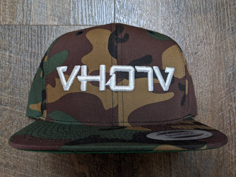 Snapback: Camo with White 3D Puff logo