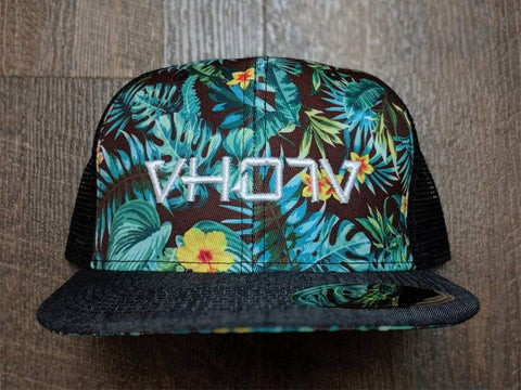 Snapback: Denim/Palm Floral Mesh Trucker
